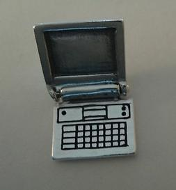 1 Sterling Silver 3D 15x13mm Movable Laptop Lap Top Computer