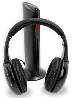 6-in-1 Wireless Headphones for TV Laptop MP3 Players - Built