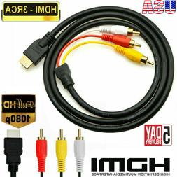1080p HDMI Male to 3 RCA AV Audio Cable Cord for TV,HDTV,DVD
