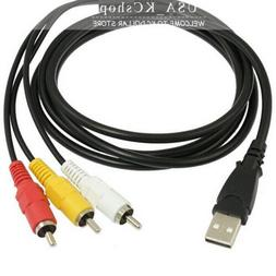 3 RCA to USB Aux Audio Video Adapter AV Converter Cable Cord