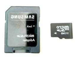 512MB Micro SD Class 10 Memory Card With Samsung Adapter Pho