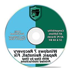 Windows 7 Repair & Recovery Disk 32 & 64 Bit DVD Reinstall R