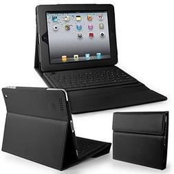 Flylinktech Bluetooth Wireless Keyboard with Leather Case St