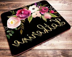 Personalized Roses with Gold Floral Letters Mouse Pad Comput