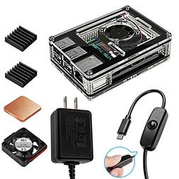 Smraza ASUS Tinker Board Case with Cooling Fan, 2.5A Power S