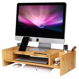 SONGMICS Bamboo 2-Tier Monitor Stand Riser with Adjustable S