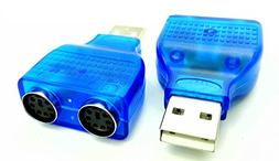 CGTime Blue Mouse Keyboard USB A Male to Dual PS/2 Female Co