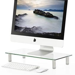 FITUEYES Clear Computer Monitor Riser Save Space Desktop Sta