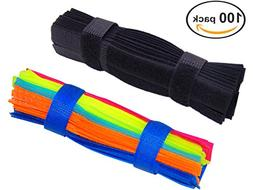 Ceeyali 50 Pack Colorful + 50 Pack Black Reusable Fastening