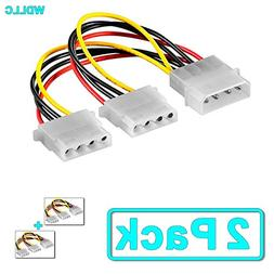 Computer Molex 4 Pin Power Supply Y Splitter Cable - 2 Femal