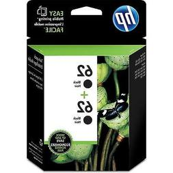 NEW GENUINE - HP 62 BLACK 2-PACK INK CARTRIDGES - T0A52AN -
