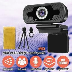 HD 1080P Webcam with Microphone USB Computer Camera for Live