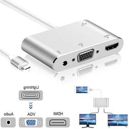Hot sell Converter For Lightning to HDMI VGA Jack Audio TV A