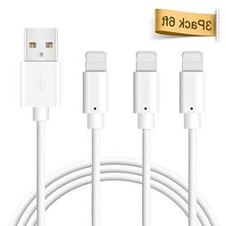 Phone Cable, Quntis 3Pack 6FT USB Cable Certified Fast Charg