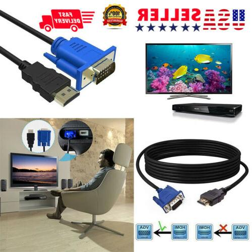 VGA HDMI Adapter Computers HDTV to M2M 6FT DVD Pin 15 For Ca