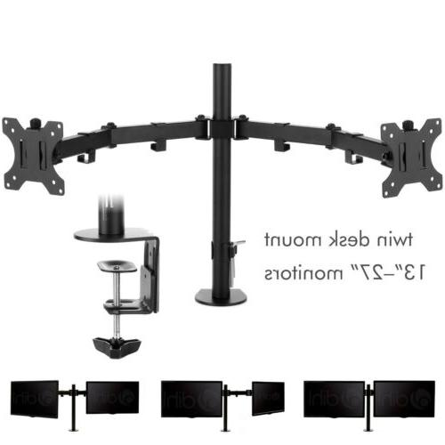Dual Monitor Stand Double Arm Computer 13 To LCD Screens