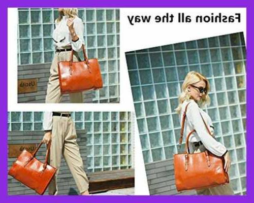 """Laptop Bag For 15.6"""" Waterproof Lightweight Leather Computer Tote Business"""