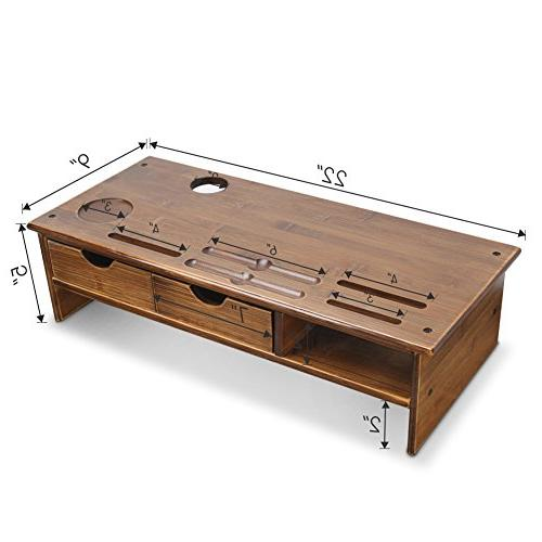Tribesigns Monitor with Organizer Drawers Bamboo,Retro Brown