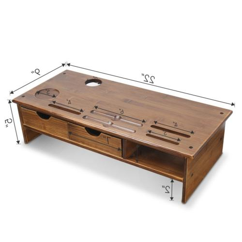 Tribesigns Monitor Stand Riser with Bamboo,Retro Brown
