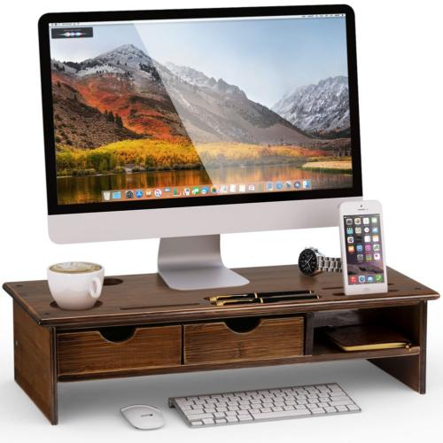 monitor stand riser with storage organizer drawers