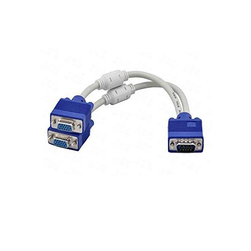 Cable Converter Video Cable for Screen Duplication VGA Cable,Saytay VGA Y-Splitter Cable Adapter 1 Male to Dual 2 VGA Female + 2 VGA to VGA Male to Male