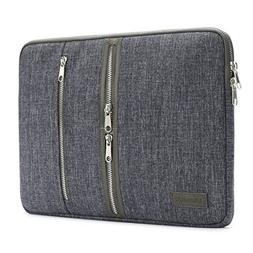 DOMISO 15 Inch Laptop Sleeve Canvas Notebook with Zipper Tab