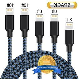 Aonsen Lightning Cable 5Pack 3FT 6FT 6FT 10FT 10FT Nylon Bra