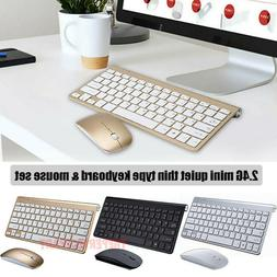 Mini 2.4G Wireless Keyboard And Mouse Combo Set For Mac Apple PC Slim USA