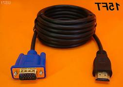 NEW 15 FT LONG HDMI TO VGA MONITOR CABLE COMPUTER TO TV CORD