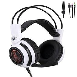 FNSHIP 3.5mm Port Wired Gaming Headset,LED Backlit Stereo Ba