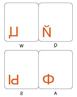 RUSSIAN TRANSPARENT WITH ORANGE LETTERING STICKERS FOR PC KE