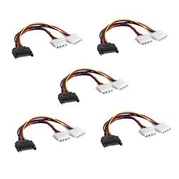 SIENOC SATA 15-Pin Male to Dual 4-Pin Molex Female Splitter