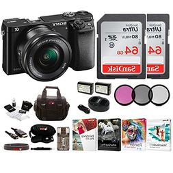 Sony Alpha a6000 Mirrorless Camera w/ 16-50mm Lens & Two 64G
