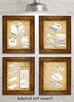 Original Steve Jobs Computer Patent Art Prints - Set of Four