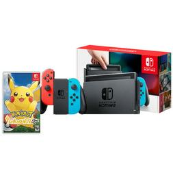 Nintendo Switch with Neon Blue and Neon Red Joy-Con + Pokemo