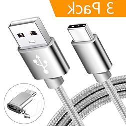 USB Type C Cable, MARGE PLUS USB C Cable 3 Pack Nylon Braide