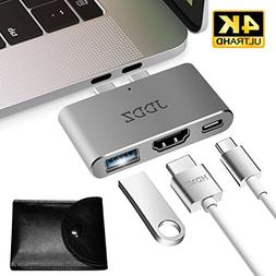 USB C Hub, JDDZ Type-C to HDMI 4K+USB 3.0+Thunderbolt 3 Port
