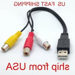 USB Male to 3 Rca RGB Female Video AV A/V Converter Cable HD