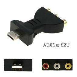 USB Male To 3RCA Female Video Audio Gold-plated Adapter AV C