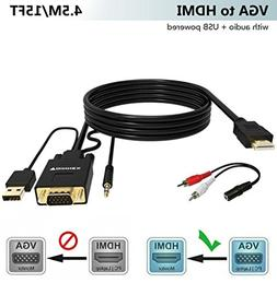 VGA to HDMI Adapter Cable 15Ft/4.5M ,FOINNEX VGA to HDMI Con