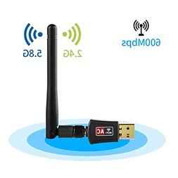 WiFi Adapter,IKOCO 600Mbps Dual Band  Wireless USB Wifi Dong