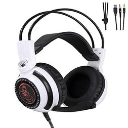 KEYI Wired Stereo Gaming Headset,Soft Memory Earmuffs,LED Ba