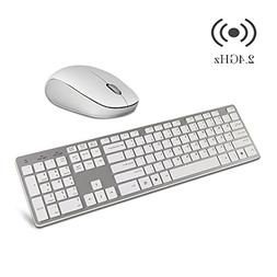 Wireless Keyboard and Mouse Combo, Hi-azul 2.4GHz Ergonomics
